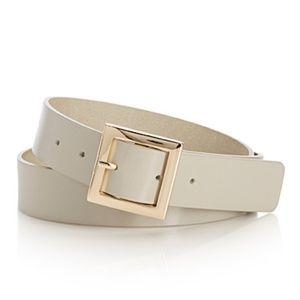 Cream genuine Italian leather belt made in Canada